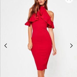 Black Frill Overlay High Neck Midi Dress